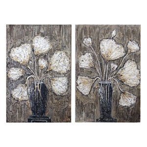 Clear Water Stems Floral Art, Set of 2
