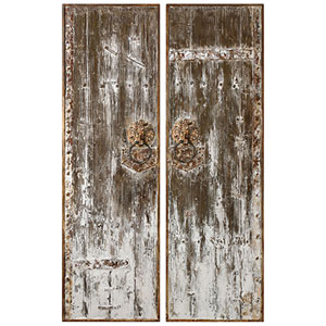 Giles Aged Wood Wall Art, Set of 2