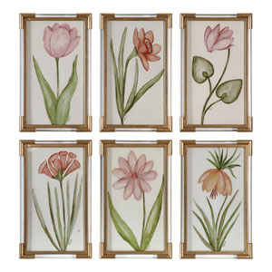 Pretty In Pink Floral Art, Set of Six