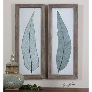 Tall Leaves Taupe and Gray Framed Art, Set of 2