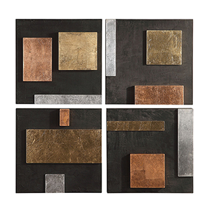 Mixed Metals Modern Wall Art, Set of 4