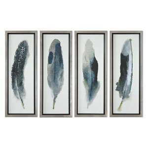 Feathered Beauty by Grace Feyock: 14 x 38-Inch Wall Art, Set of Four
