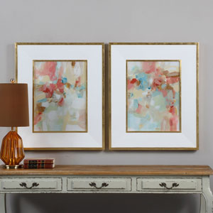 A Touch of Blush and Rosewood Fences by Grace Feyock: 28 x 34-Inch Wall Art, Set of Two