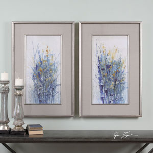 Indigo Florals Framed Art, Set of 2