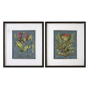 Rhubarb and Artichoke Floral Prints, Set of Two