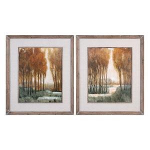 Custom Golden Forest Landscape Prints, Set of Two