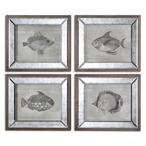Mirrored Fish 16.1 x 19.3 Framed Art Set of 4