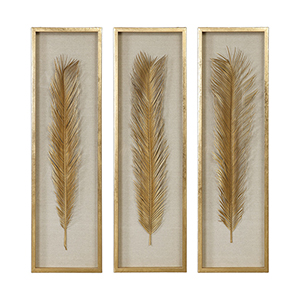 Palma Gold Leaf Shadow Box, Set of Three