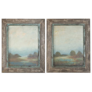Morning Vistas Off White and Taupe Framed Art, Set of 2