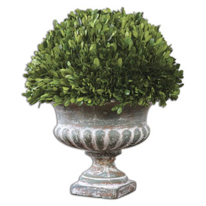 Preserved Boxwood Green and Stony Gray Garden Urn