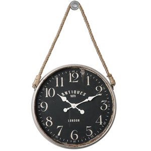 Bartram Aged Ivory and Matte Black Wall Clock