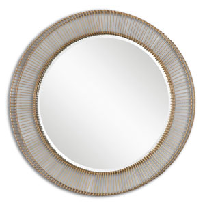 Bricius Rust Bronze and Gold Round Metal Mirror