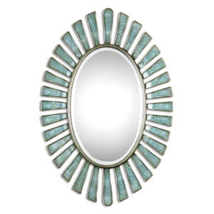 Morvoren Blue Gray Oval Mirror
