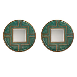 Amina Blue Green and Antique Gold Round Mirror, Set of Two