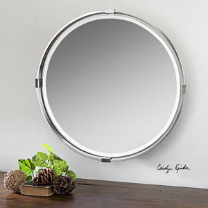 Tazlina Nickel Brushed Nickel Round Mirror