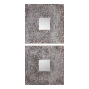 Altha Burnished Square Mirrors, Set of Two