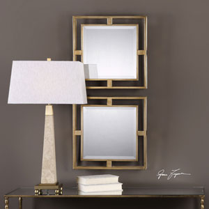 Allick Gold Square Mirrors, Set of Two
