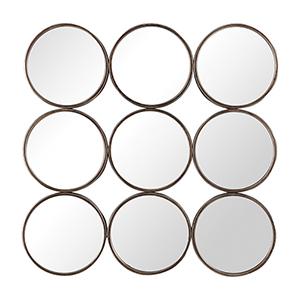 Devet Distressed Burnish Bronze Rings Mirror