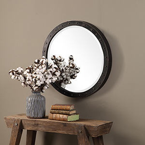 Beldon Dark Bronze Round Mirror