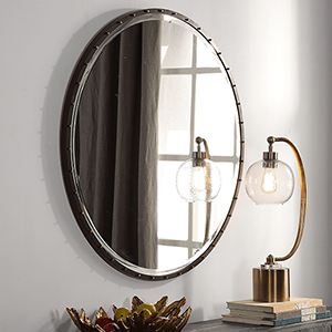 Benedo Rustic Black and Gold Round Mirror