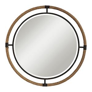 Melville Rust Black Round Mirror