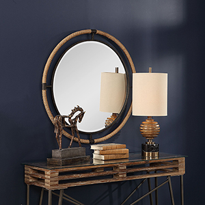 Melville Rust Black Round Mirror