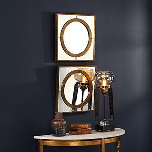 Gaza Gold Square Mirror, Set of Two