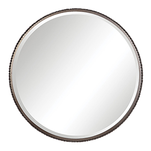 Ada Round Burnished Steel Silver Mirror
