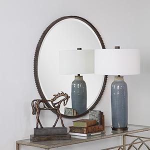 Ada Round Burnished Steel Silver Mirror