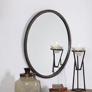 Werner Bronze Round Gear Mirror