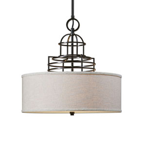 Bennet Bronze with Beige Four-Light Pendant with Drum Shade