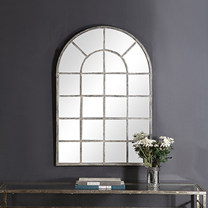 Grace Arched Rustic Gray Mirror