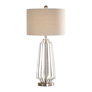 Selby Crystal and Brushed Nickel One-Light Table Lamp