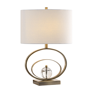 Evelyn Antique Brass and Crystal One-Light Table Lamp