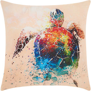 Watercolor Seaturtle Multicolor 20 In. Outdoor Throw Pillow with Polyester Fill
