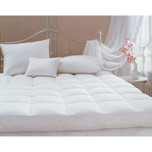 White Classic 95/5 California King Goose Feather Featherbed