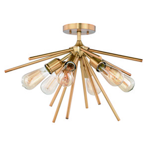 Estelle Natural Brass 24-Inch 6-Light Semi-Flush Mount