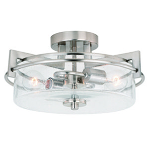 Addison Satin Nickel 15-Inch 2-Light Semi-Flush Mount