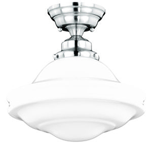 Huntley Satin Nickel 12-Inch 1-Light Semi Flush Mount