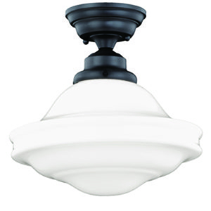 Huntley Oil Rubbed Bronze 12-Inch 1-Light Semi Flush Mount