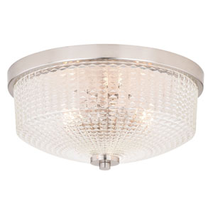 Ella Satin Nickel Three-Light Flush Mount