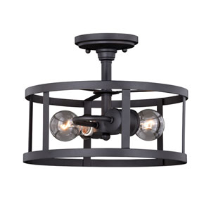 Akron Oil Rubbed Bronze and Inner Matte White Two-Light Semi Flush Mount