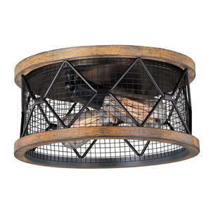 Bremerton Oil Rubbed Bronze and Burnished Teak Two-Light Flush Mount