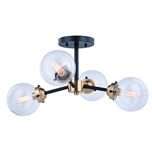 Orbit Oil Rubbed Bronze with Muted Brass Four-Light Semi-Flush Mount