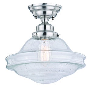 Huntley Satin Nickel One-Light Semi-Flush Mount