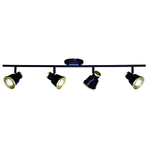 Fairhaven Textured Black with Natural Brass Four-Light Directional Light