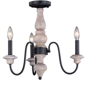 Georgetown Vintage Ash And Oil Burnished Bronze Three-Light Semi Flush Mount