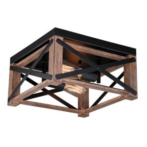 Colton Rustic Oak And Noble Bronze Two-Light Flush Mount