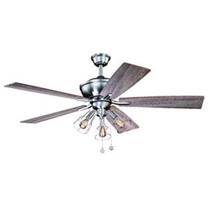 Clybourn Satin Nickel 52-Inch 3-Light Ceiling Fan