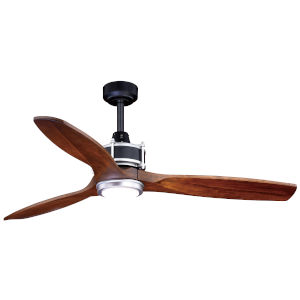 Curtiss Matte Black and Brushed Silver 52-Inch LED Ceiling Fan